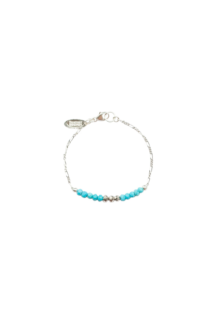 Mermaid Gemstone Kids Bracelet in Silver w/Turquoise