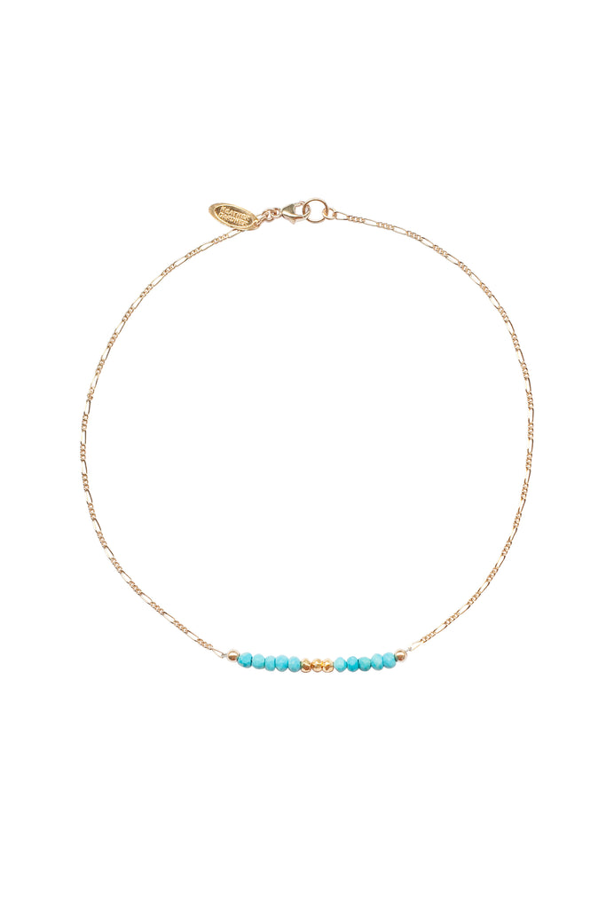 Mermaid Gemstone Kids Necklace in Gold w/Turquoise