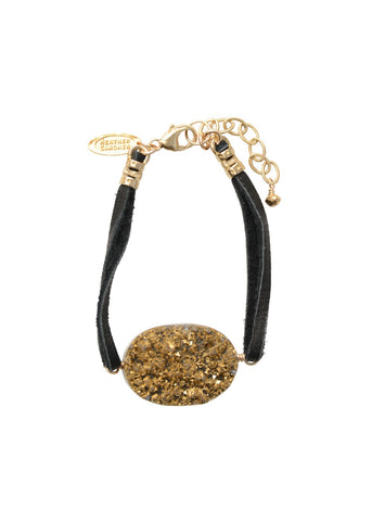 Metallic Crush Druzy Leather Bracelet