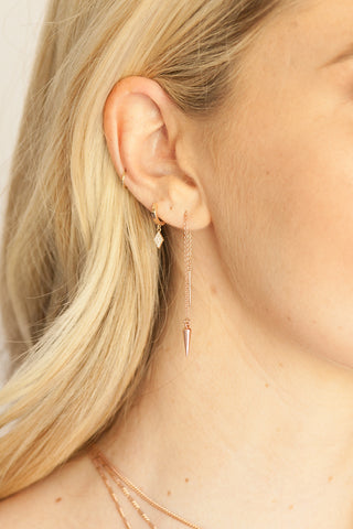 Tiny Spike Threader Earrings in Rose Gold or Silver