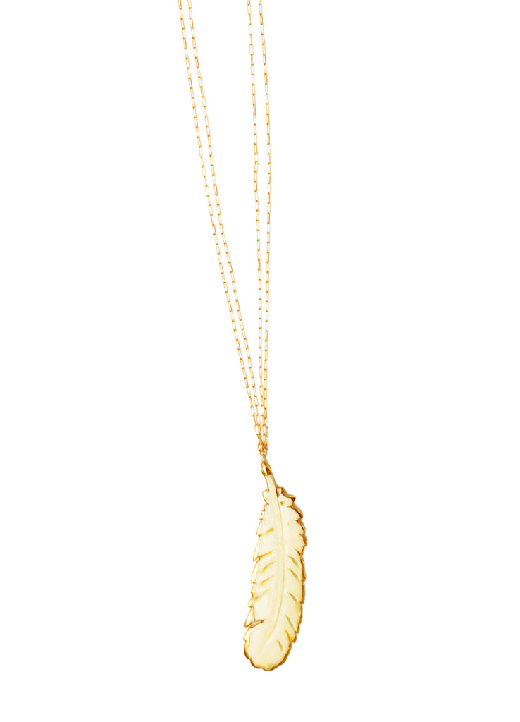 Double Chain Ivory Feather Boho Necklace
