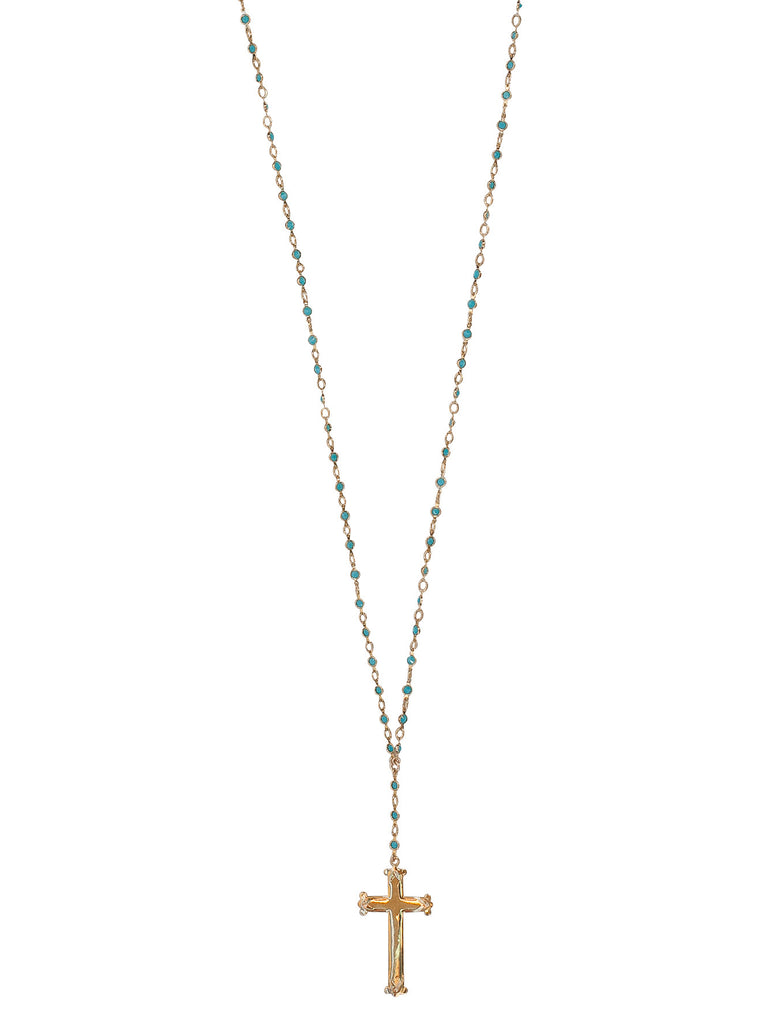 Petite Crystal Cross Necklace