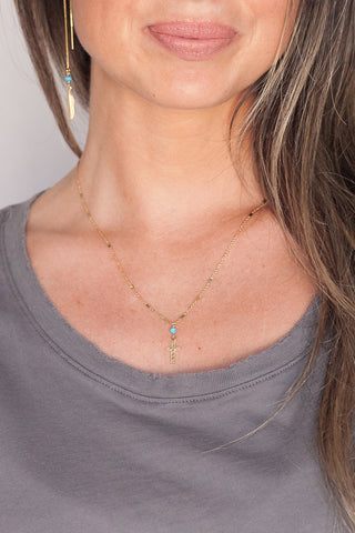Gold or Silver Rosary Cross Necklace in Turquoise