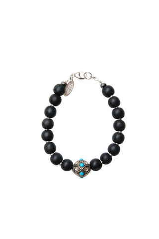 Rose Cut Diamonds Turquoise Bracelet