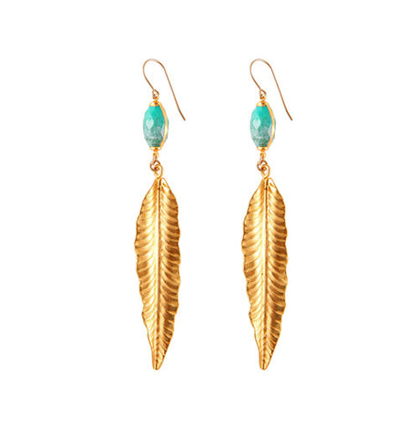 Turquoise & Feather Earring