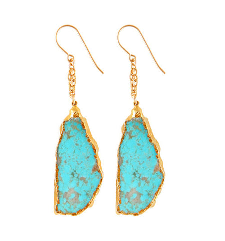 Double Chain Turquoise Earrings