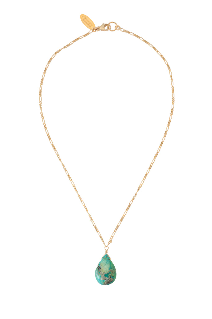 Turquoise Teardrop Necklace in Gold, Silver, and Rose Gold