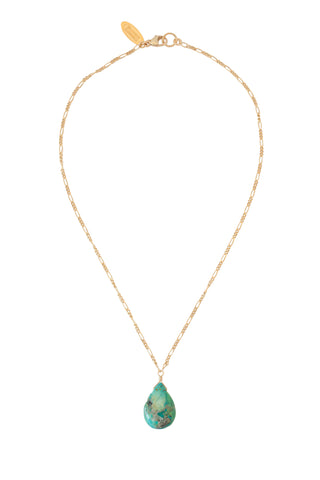 GIRLS Turquoise Teardrop Necklace in Gold, Silver, and Rose Gold