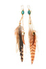 Turquoise stone feather and tusk earring72dpi