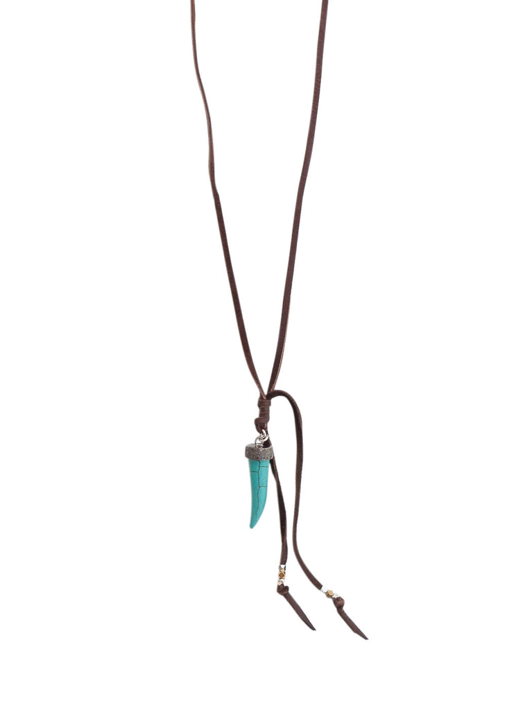 Pave Diamond Turquoise Tusk Necklace