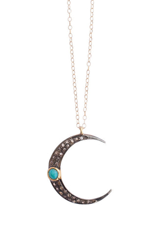 Turquoise Crescent Moon Necklace:  other colors available