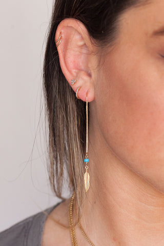 Turquoise Native Sun Threader Earrings