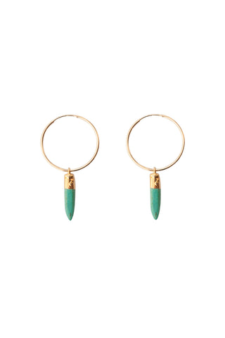 Turquoise Spike Hoop Earring- Single or Pair