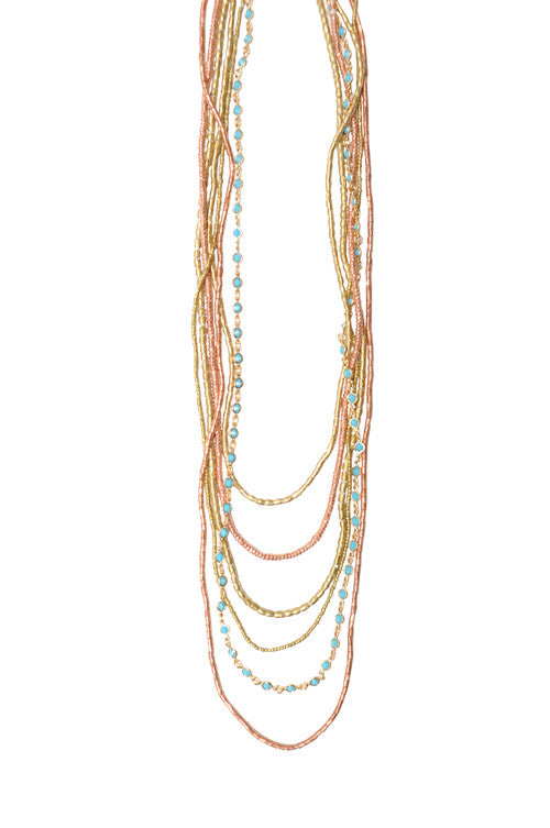 6 Layer Brass and Copper Turquoise Necklace