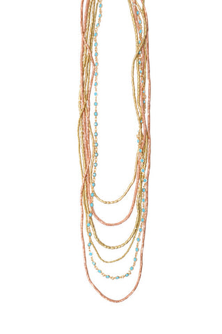 6 Layer Bohemian Crystal Turquoise Necklace