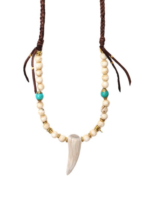 WEB CROP Leather Wrap Elk Horn Necklace