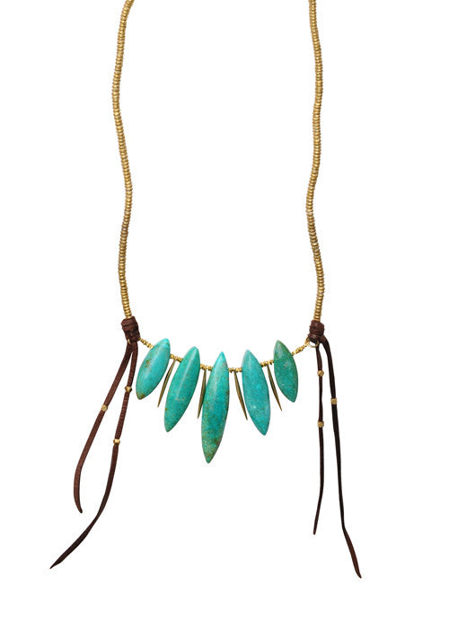 WEB CROP Turq Spike Necklace
