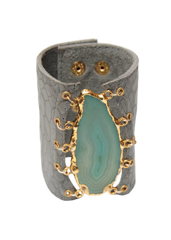 Malibu Agate Leather Cuff