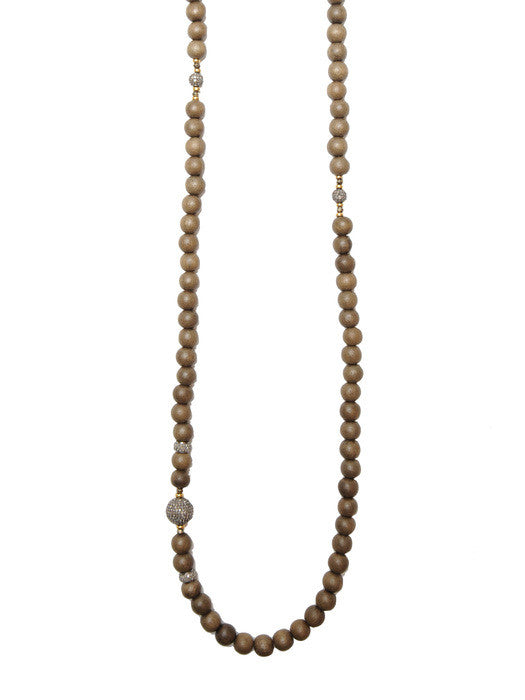 African Wood Bead Diamond Necklace
