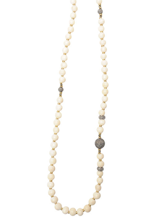 Tibetan Mala Bead Pave Diamond Necklace
