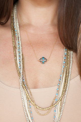 Rose Cut Diamond and Turquoise Necklace