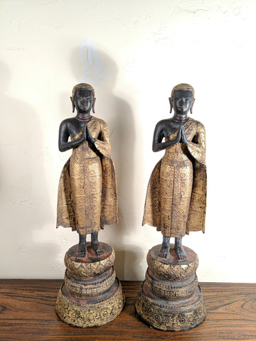 An Exceptional Pair of Antique Rattanakosin Bronze Monks, 27 inches high!
