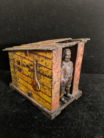 Early Original 19th Century J&E Stevens Mechanical Bank  Man and Cabin