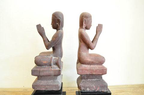 Antique Pair of Carved Buddhist Acolytes