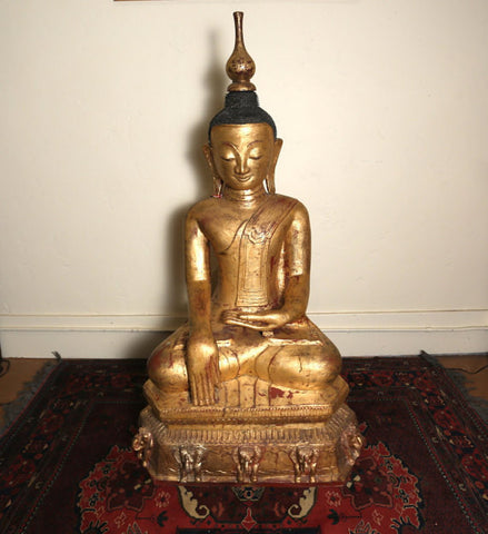 A Very Large Burmese Lacquer Seated Buddha