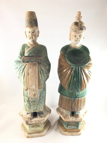 A Fabulous Pair of Sancai Attendants, Ming Dynasty, Wanli Period