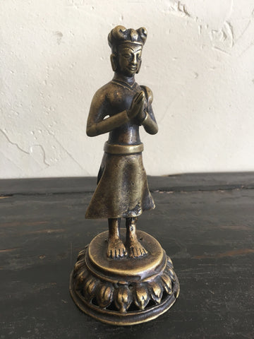 Antique 19th Century Bronze Image of Malla King, Nepal