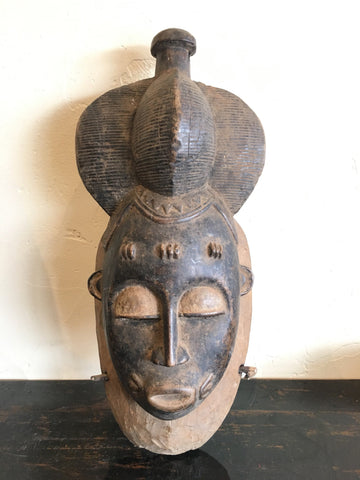 Intricate Vintage Baule Mask from Burkino Faso