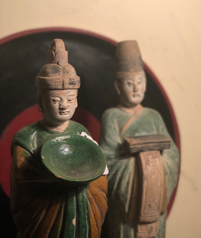 A Fabulous Pair of Sancai Tomb Attendants, Ming Dynasty, Wanli Period