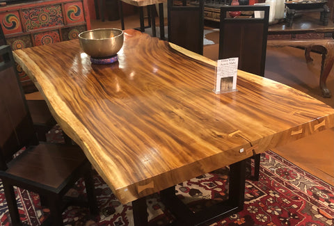 wonderful Acacia Single Slab Table, with a flock of soaring birds used as connectors. This will be the centerpiece to your home!