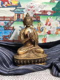 "Bronze Buddha - Dharmachakra mudra turning the wheel of dharma  - 5.5"" tall"