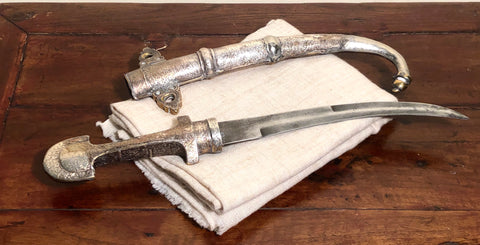 Dagger.  Ottoman Khanjar Dagger.  Circa 1900.  Silver scabbard.  The Khanjar is a symbol of manhood, power and authority
