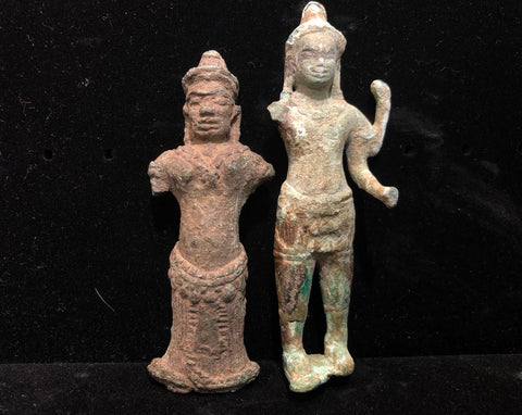 2 Fragmentary Bronze figures. Khmer,Cambodia. 12th-13th century