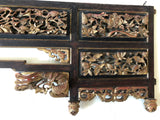Carved headboard of a Chinese Canopy bed. 19th century. Elm wood.