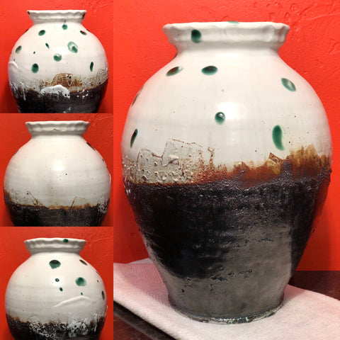 this water jar is extra special. fired multiple times. High fire stoneware; white satin glaze. Green glaze and blackwork fired at cone one. Nice form, strong throwing. Brilliant color & nice composition.  Steven Colby potter