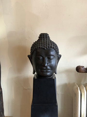 Massive Bronze Buddha Head, Lanna Period and Style