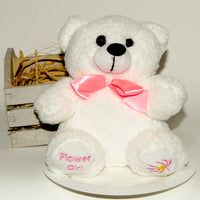 "Scented Bear 7.5"" - Pick your scent with adoption! - White flower girl"