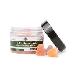 Load image into Gallery viewer, Green Jungle CBD gummies with open lid and gummies next to tub