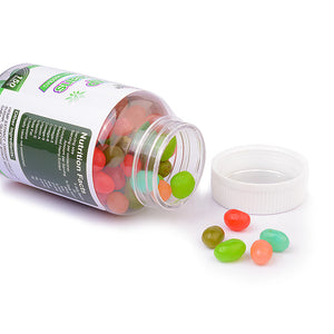 Green Jungle hemp jelly beans with open lid on white background