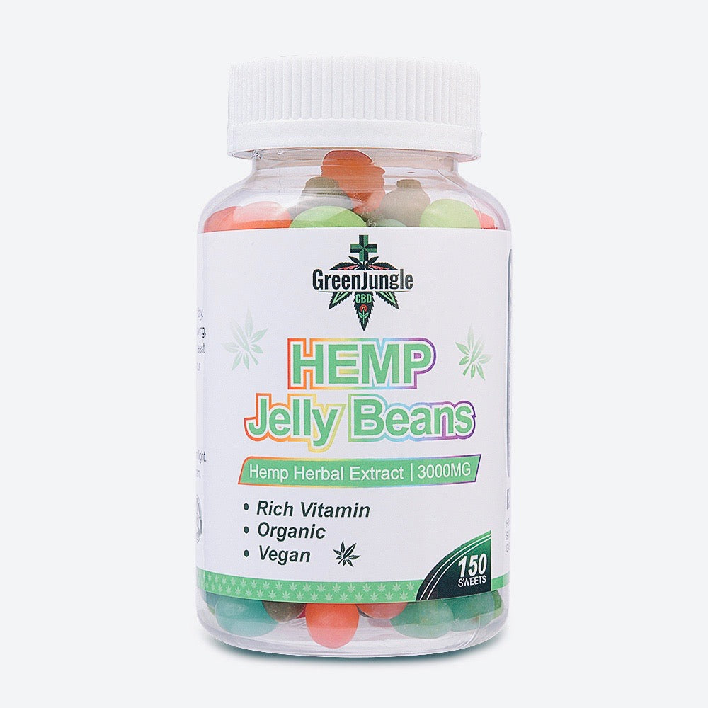 Green Jungle hemp jelly beans on white background