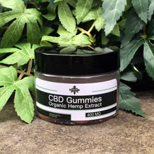 Load image into Gallery viewer, Green Jungle CBD gummies on stone surface with leaves in background