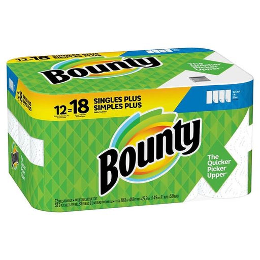 Paper Towel Bounty Select-A-Size Paper Towels, White, 12 Single Plus Rolls = 18 Regular Rolls (Packaging May Vary) - Great Stuff OnlineBounty