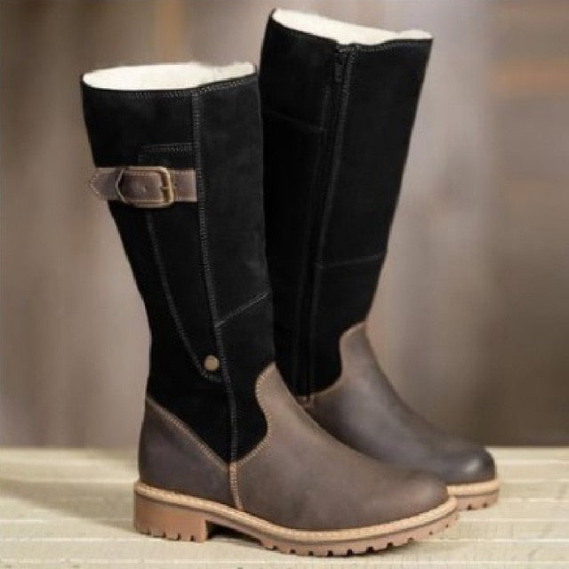 Winter Snow Boots Women New Leather Plush Warm Boots for Women Fashion Zipper - Great Stuff OnlineGreat Stuff Online Black-brown / 5