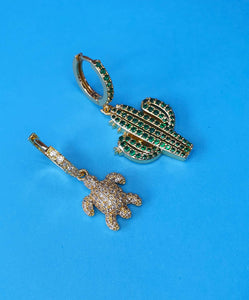Cactus & Turtle Huggie Charms