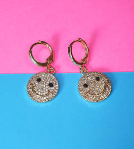 Smiley Face Huggie Earrings
