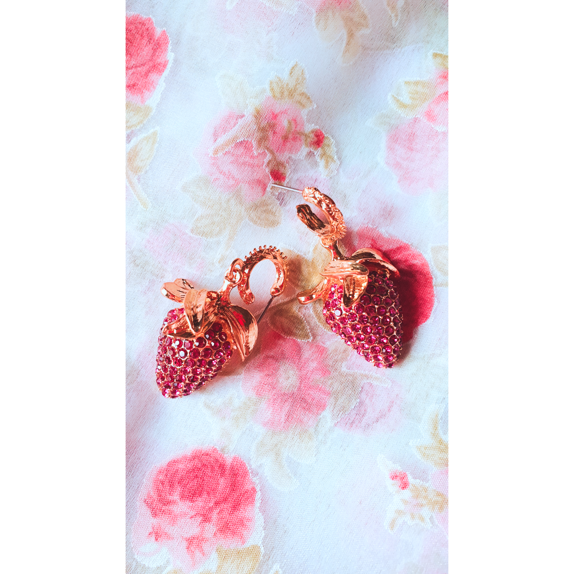 Gold Hoop & Strawberry Charms